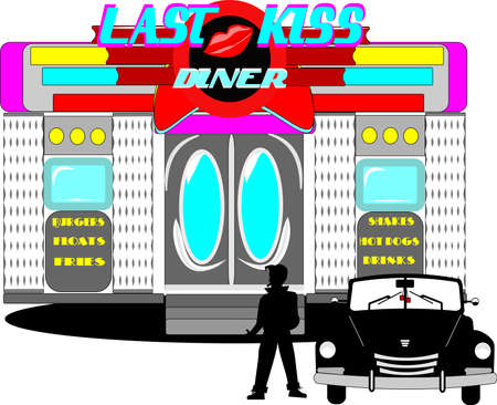 sheik: last kiss diner from the sixties  Illustration