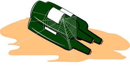 spider webs: old wine bottles covered in spider webs  Illustration