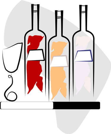 assorted wine abstract  with goblet Vector
