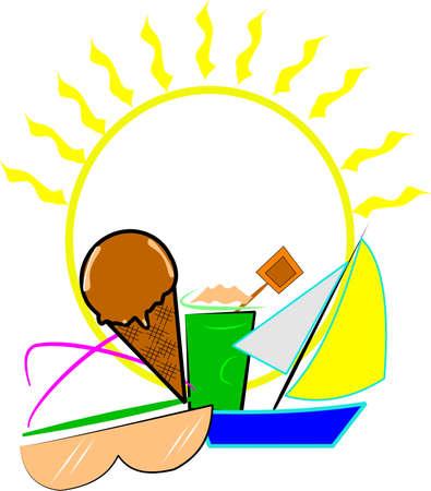 zomer-elementen op een witte Stock Illustratie