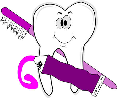 molar tooth with paste and brush  Vector