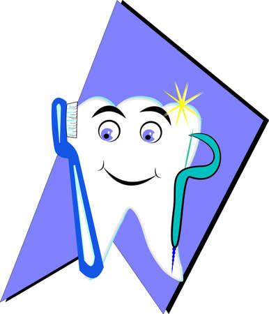 diente feliz con el cepillo y el hilo dental