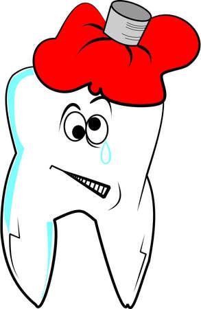 Zahnschmerzen Skizze über weiße