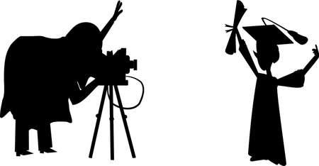 cinematographer: graduation picture silhouette Illustration
