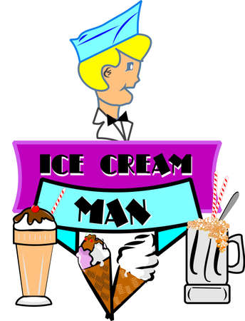 retro ice cream man  cartoon style illustration Stock Vector - 12086049