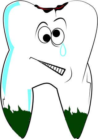 歯のプラークと虫歯の痛みで白  イラスト・ベクター素材