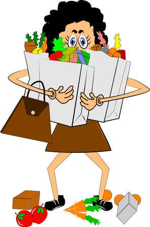 mujer que llevaba un montón de tiendas de comestibles