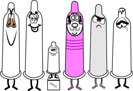 assorted condoms in cartoon style Stock Vector - 12086096