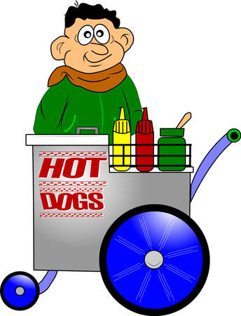 hot dog vendor with cart Stock Vector - 12313559