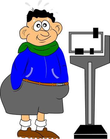obesidad: hombre obeso con nerviosismo a la espera de un paso en la escala de Vectores