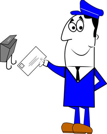 mailman: mailman delivering mail to mailbox Illustration