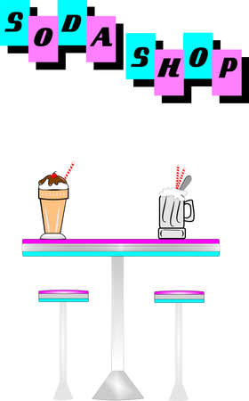 fifties soda shop elements Vector