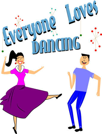 EVERYONE LOVES TO DANCE Stock Vector - 12313565