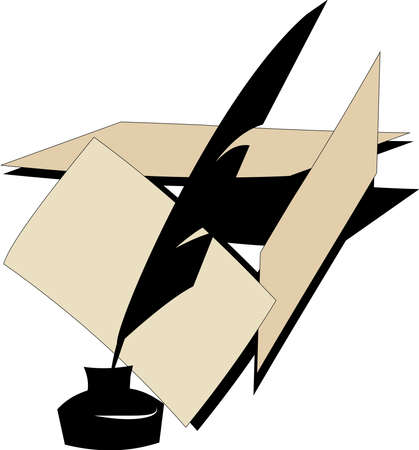 quill and paper over white  Vector