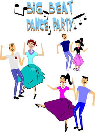big beat fiesta de baile de la década de los cincuenta era de Ilustración de vector