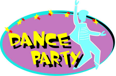 oval shape: DANCE PARTY IN OVAL SHAPE OVER WHITE Illustration