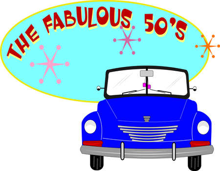 fab fifties roadster coupe over white background