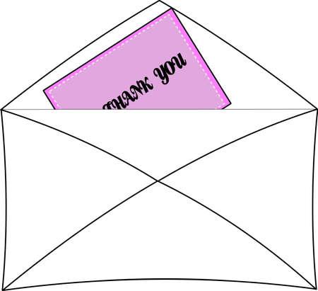 thank you note with envelope Ilustração