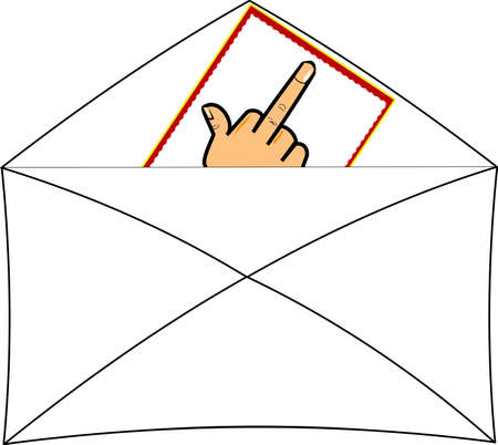 flipping the bird note in envelope over white