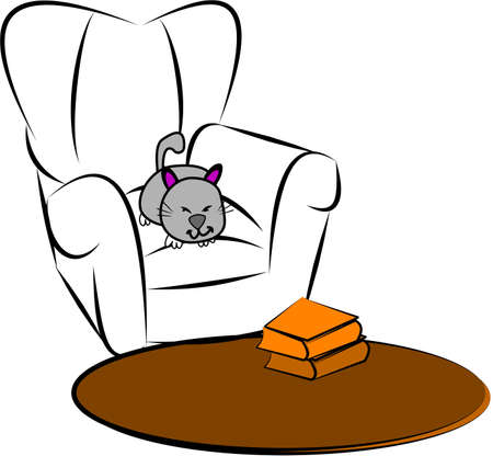 animal den: cat sleeping on comfy chair sketch