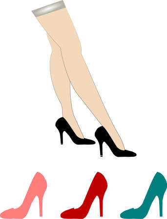 hosiery: nylons and stilettos Illustration