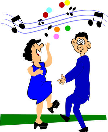 happy mature couple: older couple dancing over white Illustration