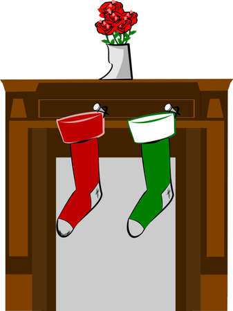 mantle: socks hung from the mantle for christmas