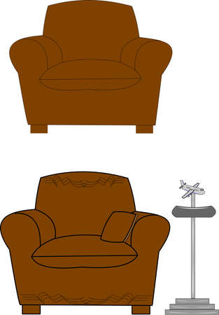big brown confy chair with old dirplane ashtray Stock Vector - 12313731