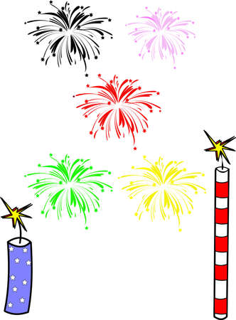 firecracker: fireworks over hwite for lifes events vector