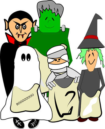 male costume: SCARY KIDS IN HALLOWEEN COSTUMES Illustration