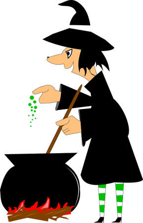 magic potion: witch in black  making a spell for halloween Illustration