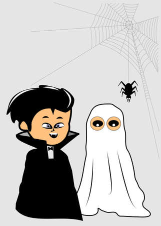 cute ghost: count dracula and his friend the ghost Illustration