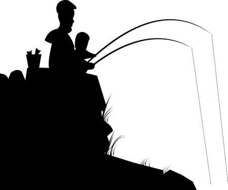 apa: apa és fia halászat sziluett Illusztráció