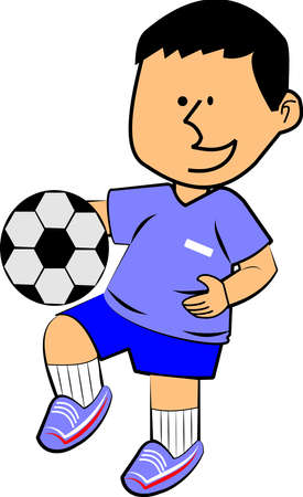 boy with soccerball over white