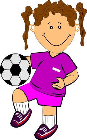 meisje voetballen, op, witte Stock Illustratie