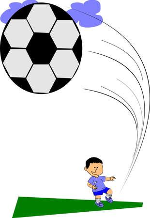 jonge jongen schoppen voetbal in de wolken