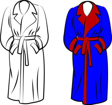 robe: housecoat in two styles over white Illustration