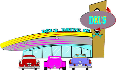 dels drive inn retro style over white