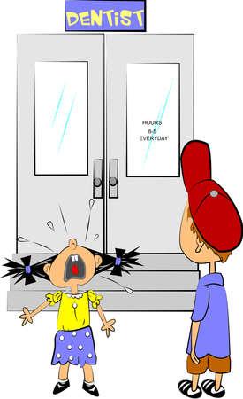 fear: dentist visit  Illustration