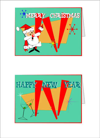 holiday: holiday retro cards over white vector Illustration
