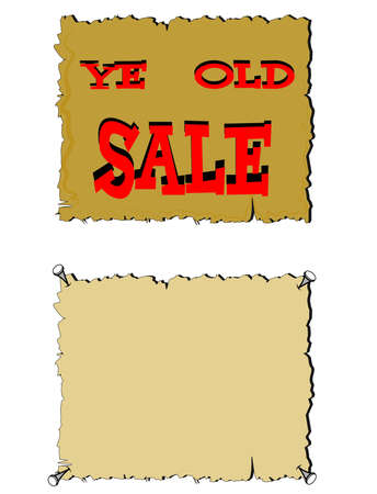 ye old sale sign on parchment in two styles