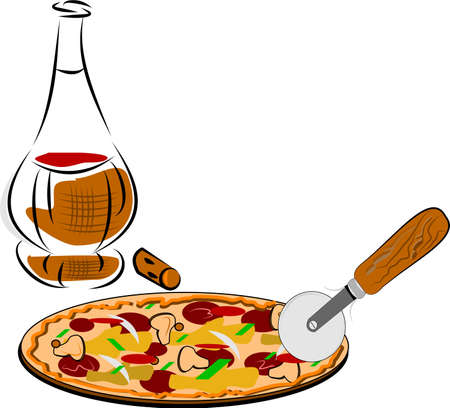 wood cutter: pizza and old bottle of wine  Illustration