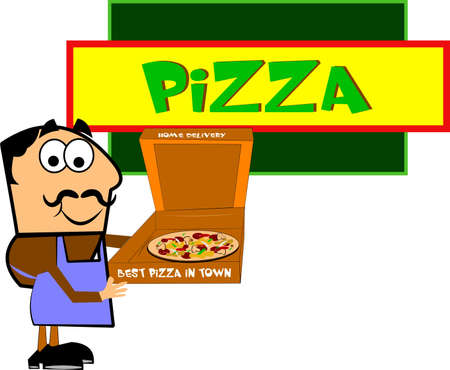 cartooned: pizza restaurant owner displaying his pizza