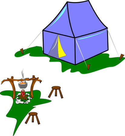 campsite in meadow Vector