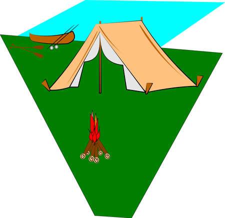 camping aan meer met kano Stock Illustratie