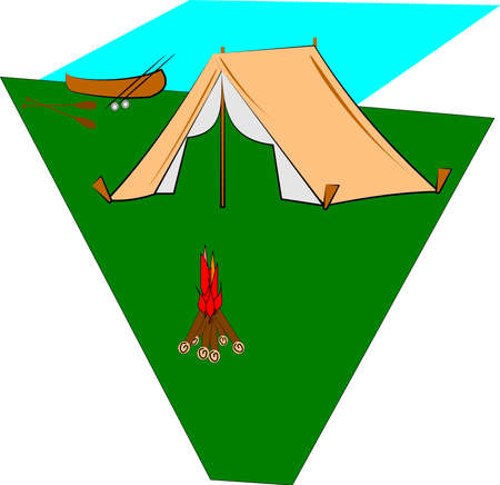 campsite on lake with canoe Stock Vector - 12783866