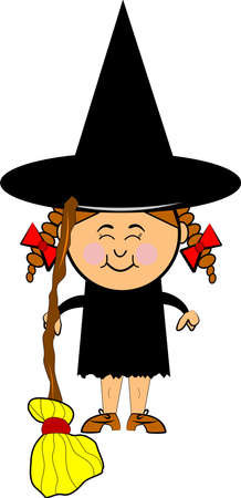 little witch with custom made broom Vector
