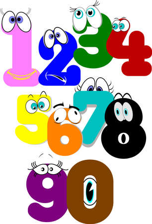 numbers set with eyes and expressions Çizim