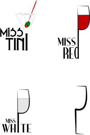 assorted drinks over white  Illustration