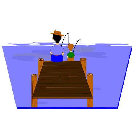 father: father and son fishing off dock  Illustration